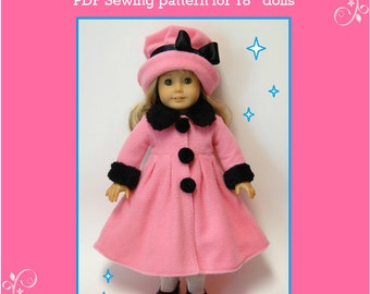 """18"""" Doll Clothes PDF Sewing Pattern - Doll Coat and Hat Set"""