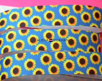 "5 yards 7/8"" Sunflowers on Blue Background Printed Grosgrain Ribbon"