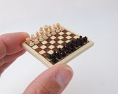 Handcarved Wooden Chess Set Miniature – 1:12 Dollhouse Art Miniature - Miniaturized Chess Set