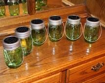 Set of 6 Hanging Green Pint Size Mason Jar Solar Lid Light - Jars and Handmade Hangers Included