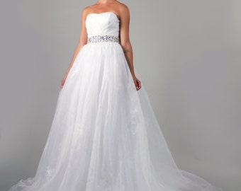 Sweetheart Organza A Line Crystal Belt White Wedding Dress, Off shoulder wedding dress bridal gown