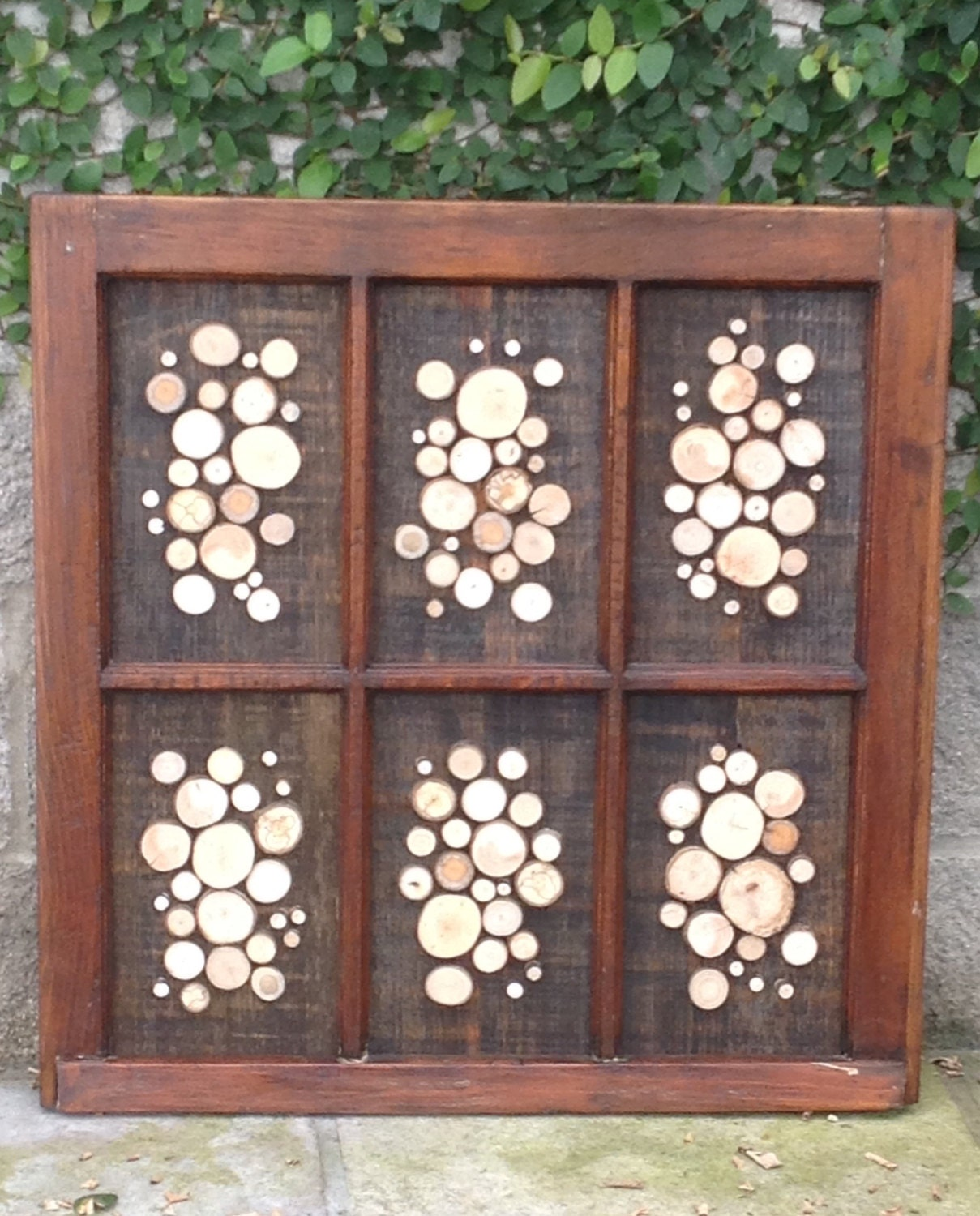 Rustic Window Frame Wall Decor : Rustic window frame with wood slices wall decor by