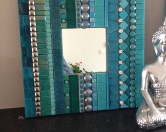 glass mosaic mirror, mirror teal, mosaic mirror, mosaic mirror,home decoration mirror