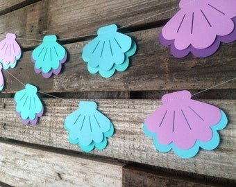 Sea Shell Garland - Mermaid Party Garland, Under the Sea, Baby Shower, Birthday Party, Beach Party
