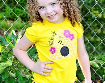 Girls Bumble Bee Shirt-Bee Shirt-Girls Summer Shirt-Girls Personalized Pink and Yellow Bee Shirt