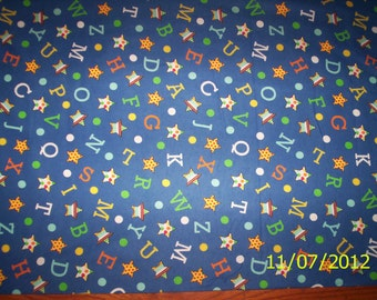 New Navy Blue with Letters 100% cotton flannel fabric by the yard and half-yard