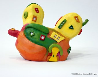 Ceramic house sculpture, colorful fruit house, banana, mango, watermelon , whimsical fruit art