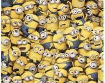 Despicable Me Minion Fabric - Yellow Packed Minions Fabric - 1 In A Minion Fabric -  Despicable Me Fabric By the Half Yard