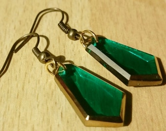 Vintage glass earring red/green long