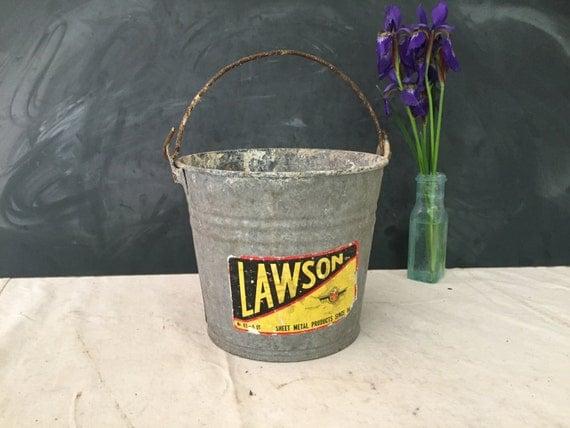 Vintage Lawson Galvanized Metal Bucket 8 Quart Rustic Home