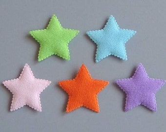Lot of 75 Padded Felt Star Appliques Multi-Color A29