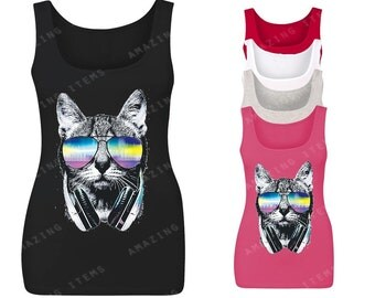 Dj Cat With Sunglasses and Headphones Women's Tank Top Shirt Funny Cool Music Lover Tees
