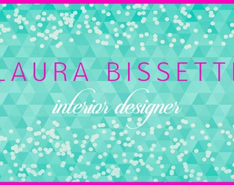 Custom Business Card Design -Confetti Business Card - Premade Business Card - Teal Business Card Design