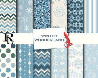 Winter Digital Paper Pack - Digital Background - Paper background -blue paper pack - wonderland paper scrapbooking - snowflake paper