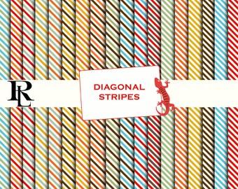 Diagonal Stripe Digital Paper Pack - Digital Background - Paper background - Brown paper pack -  Green paper pack - paper scrapbooking