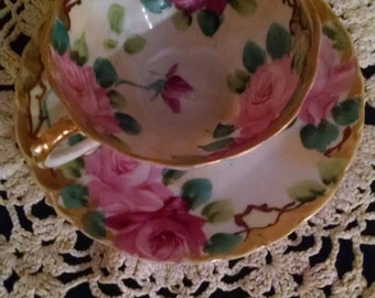 Tea cup & Saucer with Beautiful light and dark pink Roses
