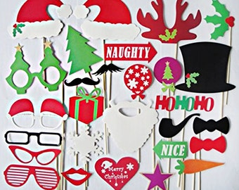 Sale !!! 27 pcs Christmas Photo Booth Props Photobooth prop On a Stick Mustache Moustache Party DIY Kit