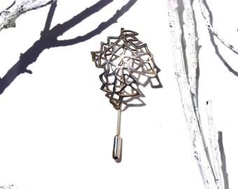 SILVER BROACH, Silver leaf broach, Tie pin