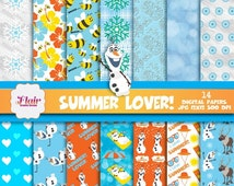 50% OFF SUMMER LOVER, Frozen Theme Digital Paper, Olaf, Snowflakes, Beach, Summer, Flowers, Floral, Snow, Umbrella, Summer, Honeybees
