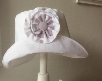 Cotton summer baby hat with flower. Baby hat. Flower baby hat.