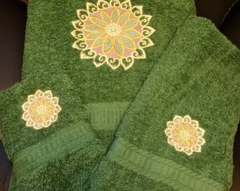 Homemade Embroidered Towel set