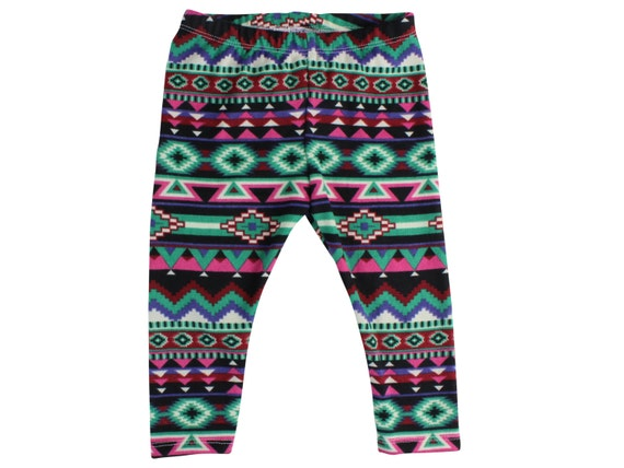 Green and Pink Aztec Tribal Baby Leggings Sweater Leggings ribal Toddler Leggings Aztec Girl Leggings Baby Pants Aztec Leggings