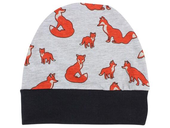Fox Jersey Knit Boy Baby Beanie Hat Fox Unisex Baby Leggings Baby Newborn Beanie Toddler Beanie Slouch Beanie Fitted Baby Gift