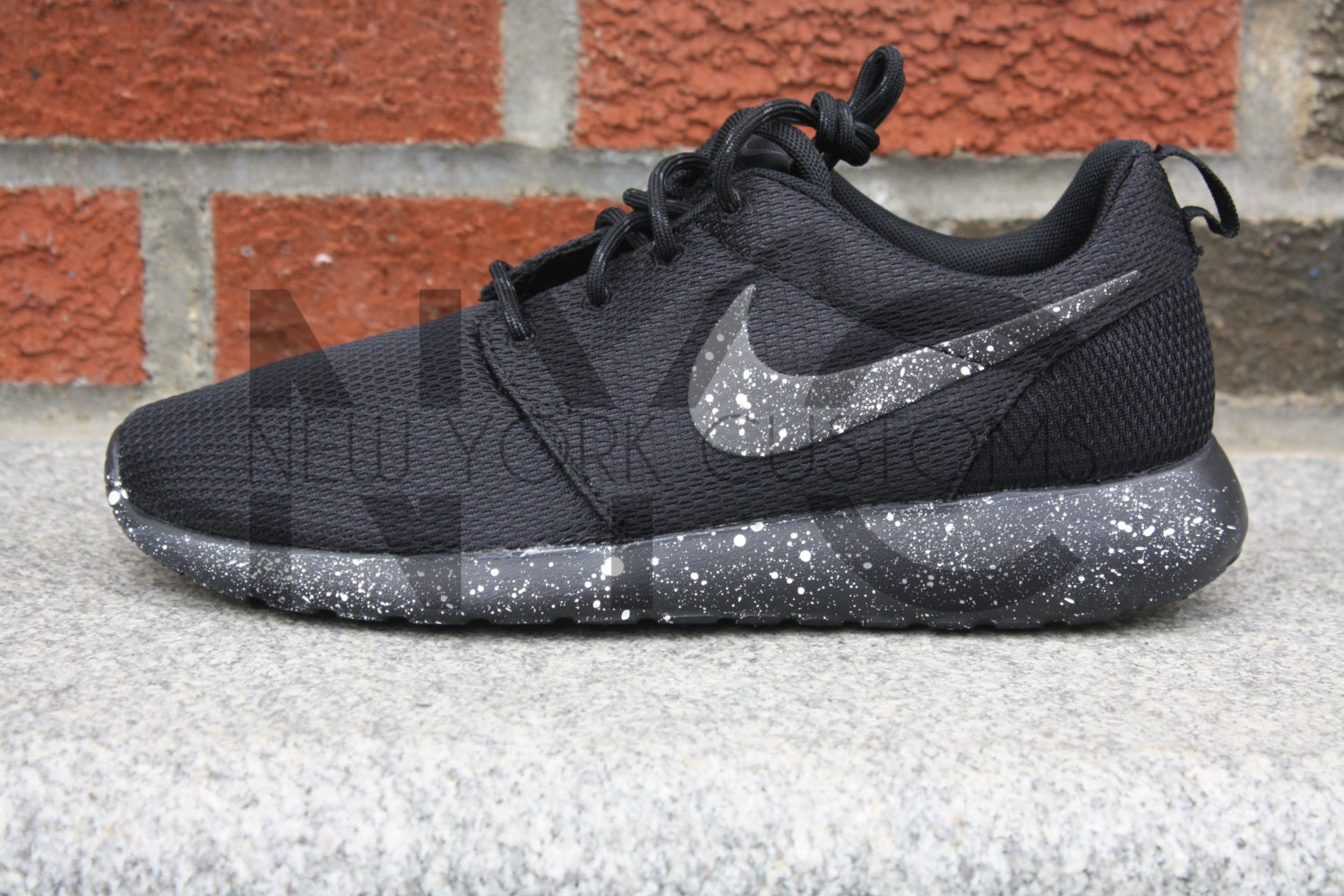 nike roshe one run black white splatter oreo speckled custom. Black Bedroom Furniture Sets. Home Design Ideas