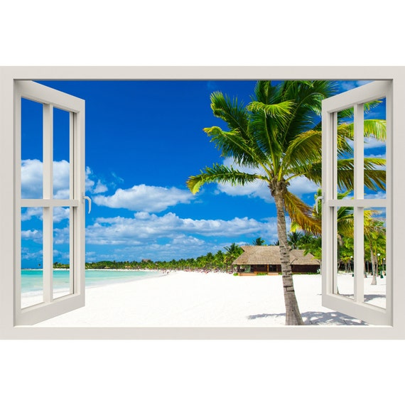 Window frame mural tropical beach huge size peel and stick for Beach window mural