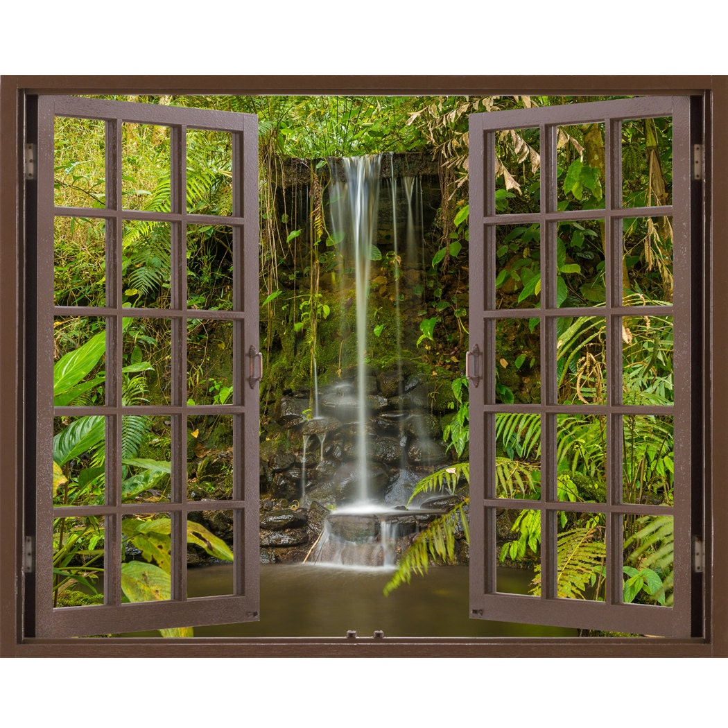 window frame mural waterfall in the forest huge size peel zoom