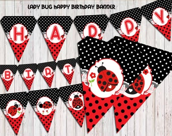 Ladybug Banner, Ladybug Birthday banner, party banner, Banner printable, Instant Download PDF