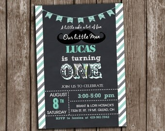 Little Man Mustache Invitation Birthday Printable Chalkboard + Free Thank you Card , Any age, wording custmization, personalized