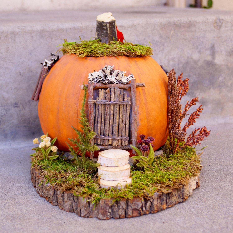 Sale pumpkin fairy house fall fairy home on wood slab with for Fairytale pumpkin carving ideas