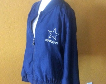 Vintage Dallas Cowboys Lined Silk Jacket by JH Silk from the early 1990's - Fabulous Shape NFL Football Size Large