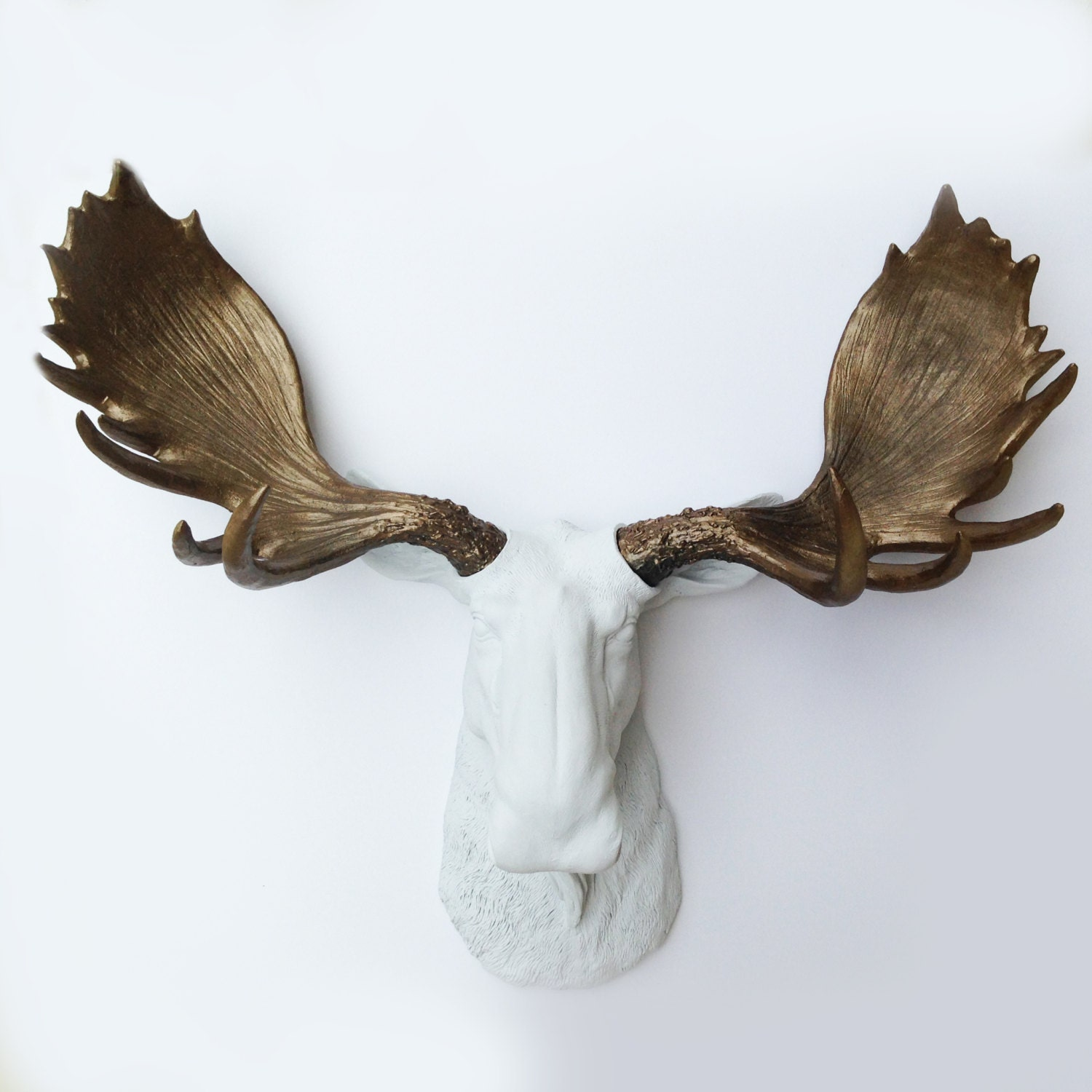 Any color or white faux moose head cabin decor animal - Fake moose head mount ...