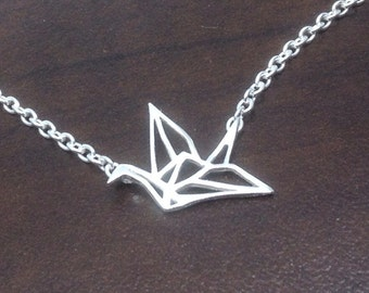 Sterling Silver Crane Necklace- Paper crane necklace, Sterling Silver necklace, bird necklace, natural neckace, sterling silver,bird pendant