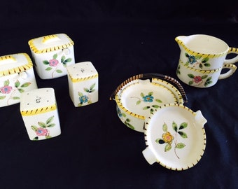 Vintage ceramic tea condiment set