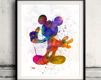 Mickey Mouse Fine Art Print Glicee Disney Cartoon Poster Decor Home Watercolor Nursery Gift Room Children's Wall Art Illustration - SKU 0793