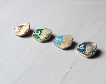 Vintage Soviet badges Kiev Kyiv founders Ukrainian metal badge pins cities series Set of 4 USSR Soviet Union cities Rare badge collectible
