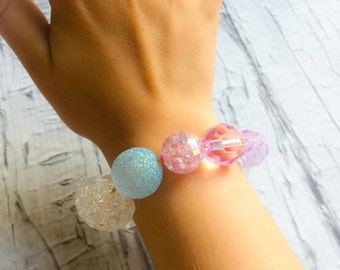 Girls Beaded Bracelet, kids sparkly bracelet, accessories, spring, summer, jewelry