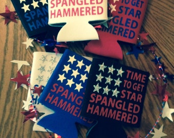 Star spangled hammered can cooler / Fourth of July / available in different colors