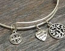 WHOLESALE Tree OF Life jewelry, family tree jewelry, Tree of Life Expandable Bangle Bracelet, Initial Charm Bangle Bracelet