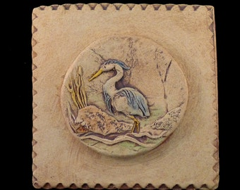 Stoneware Great Blue Heron Tile Plaque