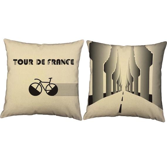 Set of 2 art deco tour de france pillows bicycle by roomcraft - Deco tour de france ...