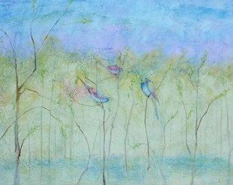 Three Birds In Spring.  PRINT