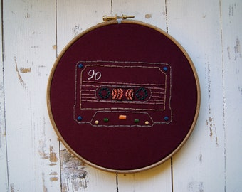 Embroidery hoop art - cassette tape