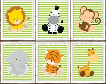 Jungle Safari Animals Set of 6 Wall Art Digital Prints ~ Instant Download ~ Boy Room Decor ~ Nursery Decor ~ Digital Download ~ Baby