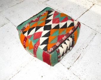 Moroccan Pouf, Berber Rug - Leith
