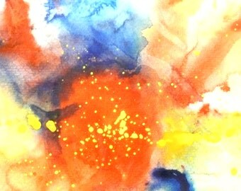 Abstract Painting , Original Watercolour, Primary Colors, Framed Home Decor, Nursery Decor, Office Wall Art, Watercolor Abstract Art