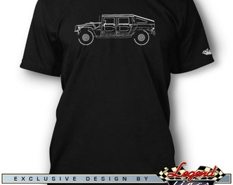 Hummer HUMVEE H1 Slantback T-Shirt for Men - Lights of Art - Multiple colors available, Size: S - 3XL, Great American Classic Car Gift